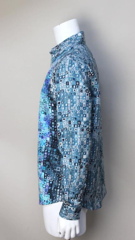 Blue Mens Gianni Versace Couture Silk Portrait Shirt For Sale