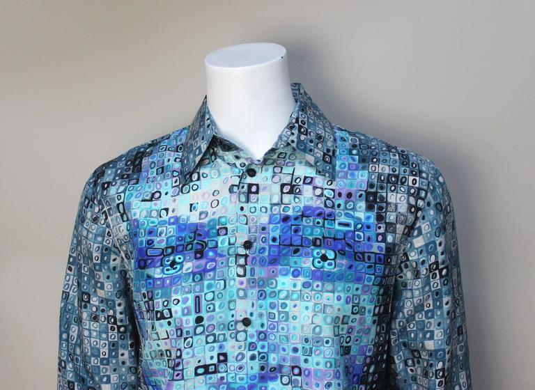 Women's or Men's Mens Gianni Versace Couture Silk Portrait Shirt For Sale