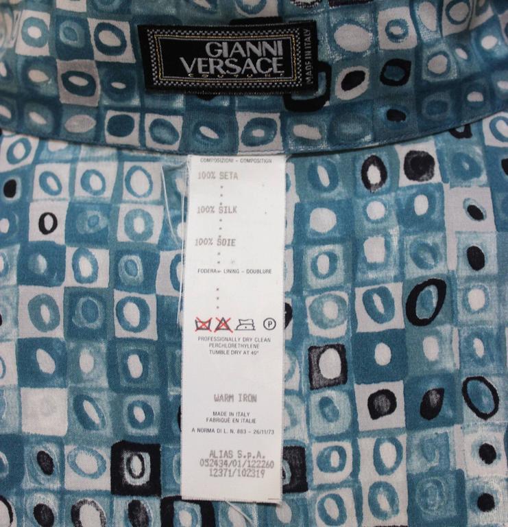 Mens Gianni Versace Couture Silk Portrait Shirt For Sale 4