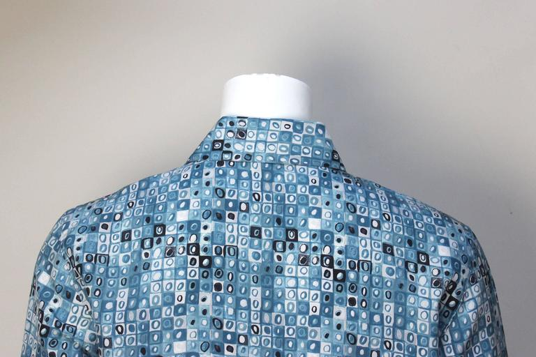 Mens Gianni Versace Couture Silk Portrait Shirt For Sale 1