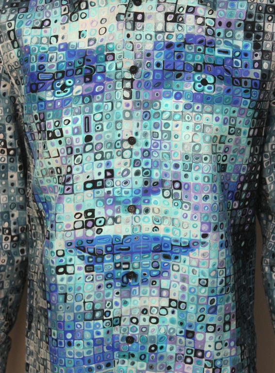 Mens Gianni Versace Couture Silk Portrait Shirt For Sale 3