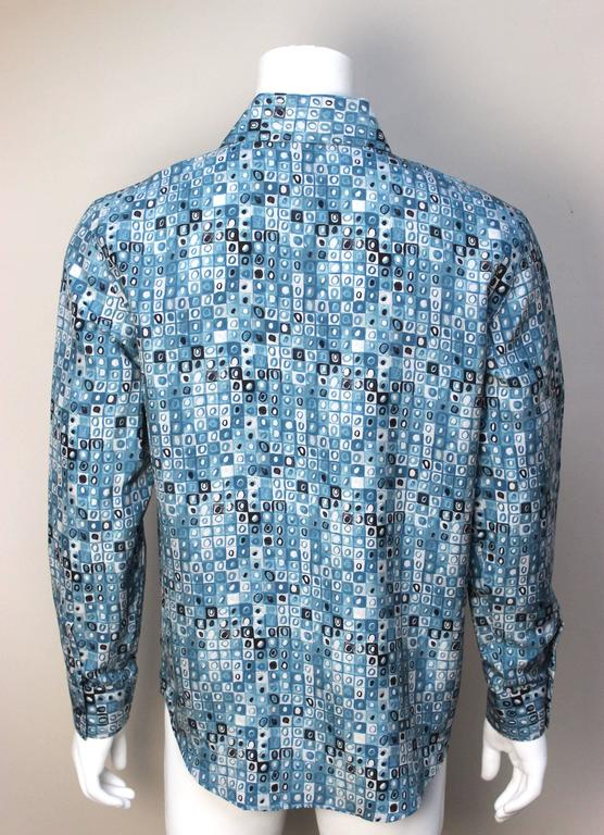 Mens Gianni Versace Couture Silk Portrait Shirt In Excellent Condition For Sale In New York, NY