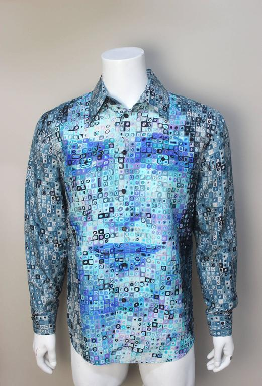 Mens Gianni Versace Couture Silk Portrait Shirt 2