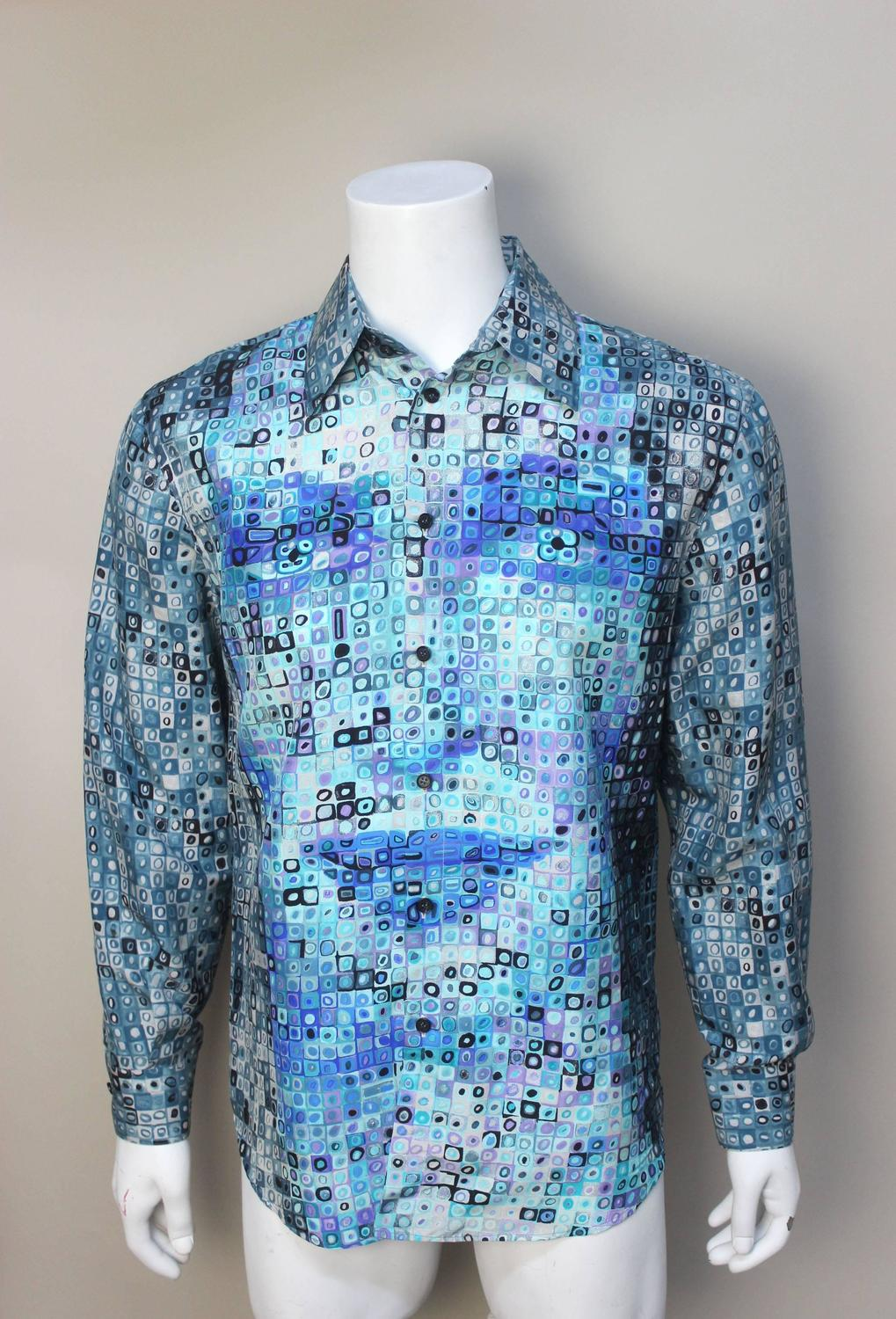 Mens gianni versace couture silk portrait shirt for sale for Versace style shirt mens
