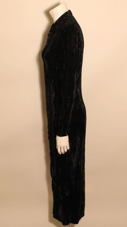 1980s Betsey Johnson Punk Label Long Velvet Dress 3