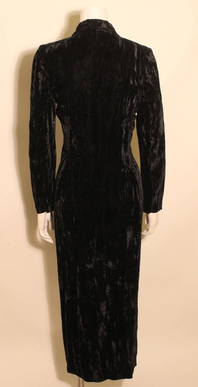 1980s Betsey Johnson Punk Label Long Velvet Dress 4