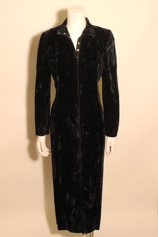 1980s Betsey Johnson Punk Label Long Velvet Dress 2