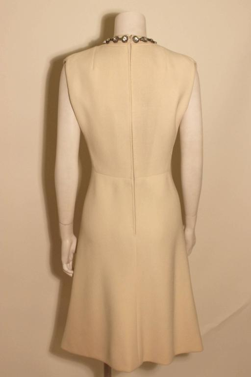 Brown Vintage Pauline Trigere Jeweled Front Cocktail Dress For Sale