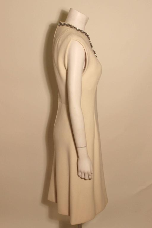 Vintage Pauline Trigere Jeweled Front Cocktail Dress In Excellent Condition For Sale In New York, NY