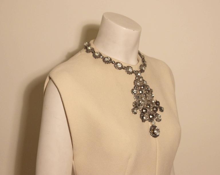 Vintage Pauline Trigere Jeweled Front Cocktail Dress For Sale 1