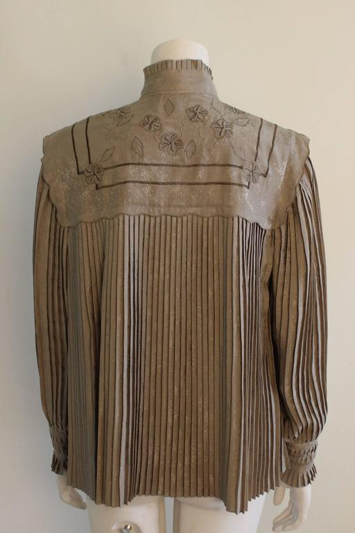 Vintage Mercedes & Adrienne Pleated Silk Blouse 3