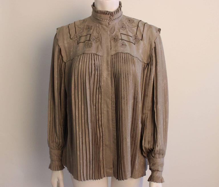 Vintage Mercedes & Adrienne Pleated Silk Blouse 2