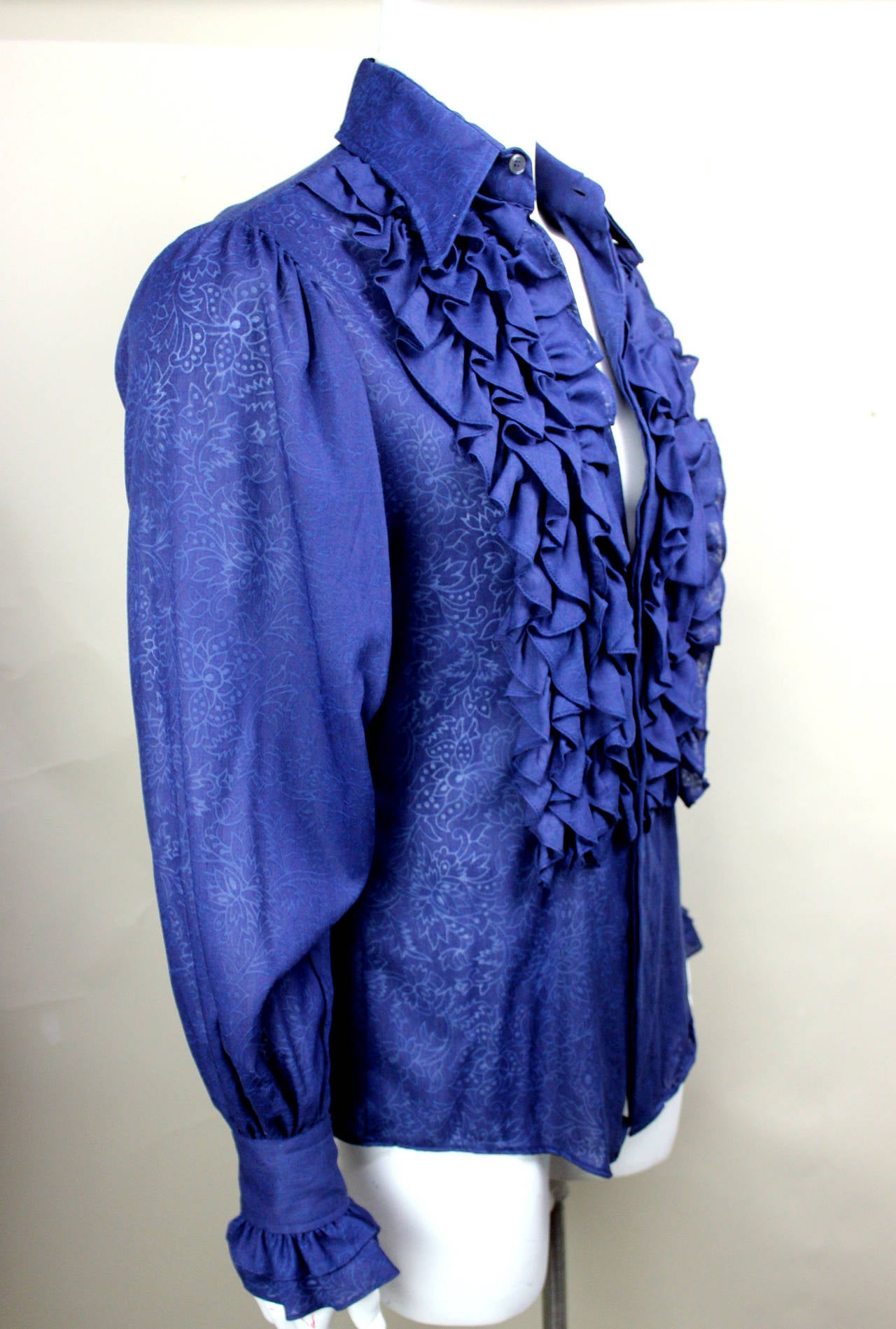 1960s Village Squire Men S Sheer Etched Ruffle Shirt At