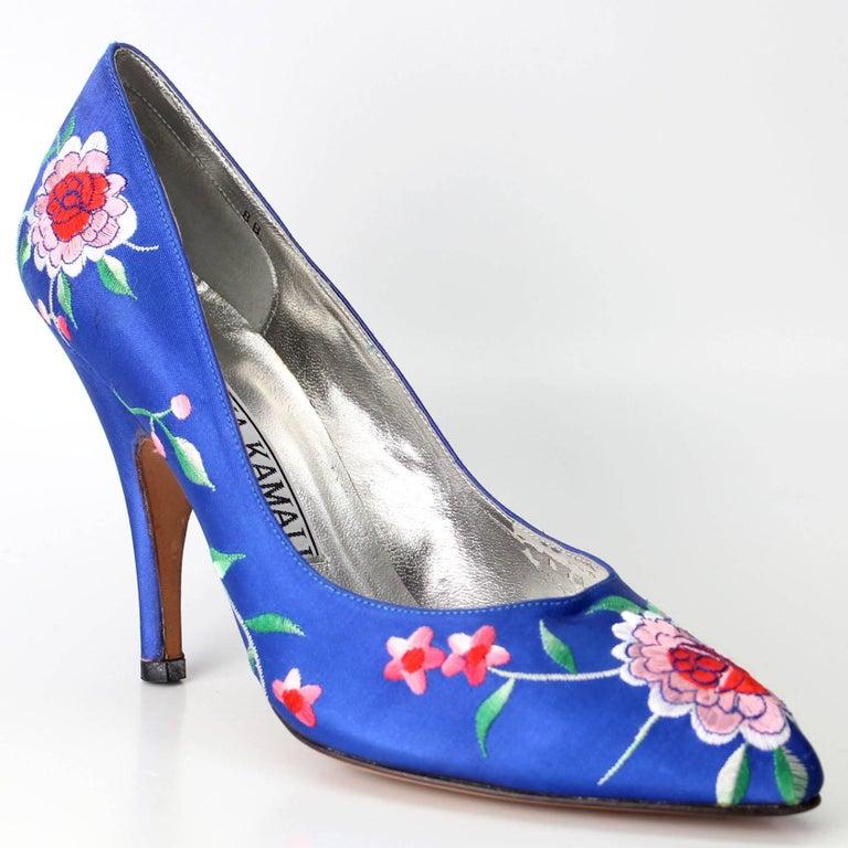 Norma Kamali Vintage Blue Satin Embroidered Floral Pumps For Sale 3