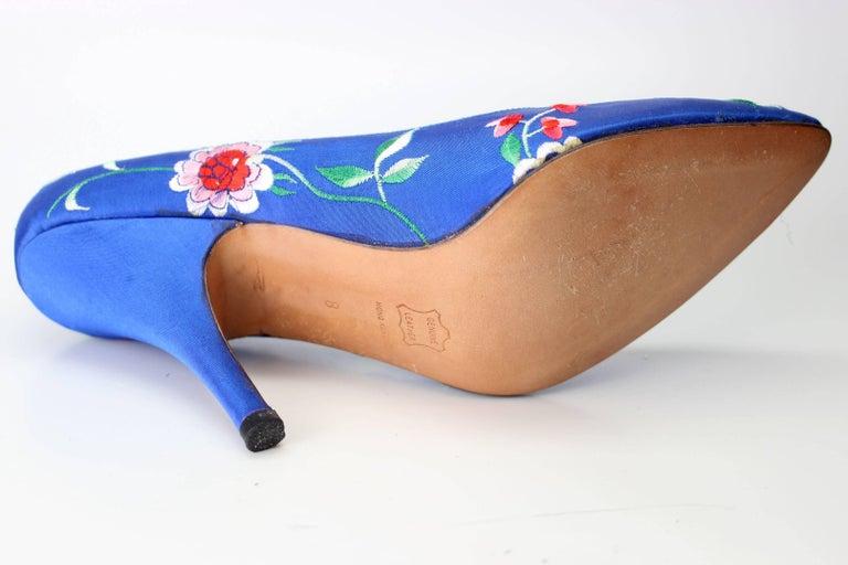 Women's Norma Kamali Vintage Blue Satin Embroidered Floral Pumps For Sale