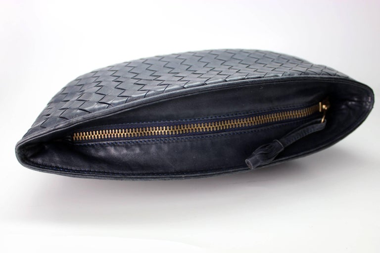 Black Bottega Veneta Intrecciato Woven Leather Clutch For Sale