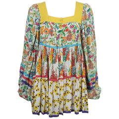 Jeff Banks 1960s Yellow Floral Mini Dress