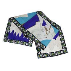 Pucci Mountain Print Long Silk Scarf