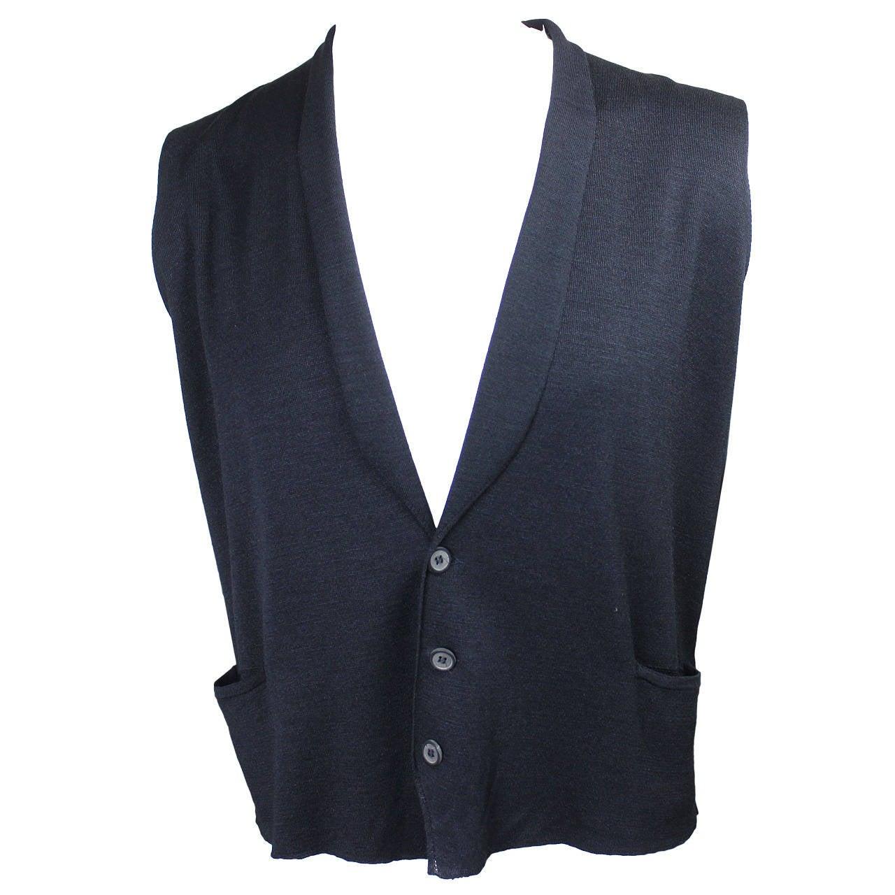 Lanvin Men's Silk Sweater Vest For Sale at 1stdibs