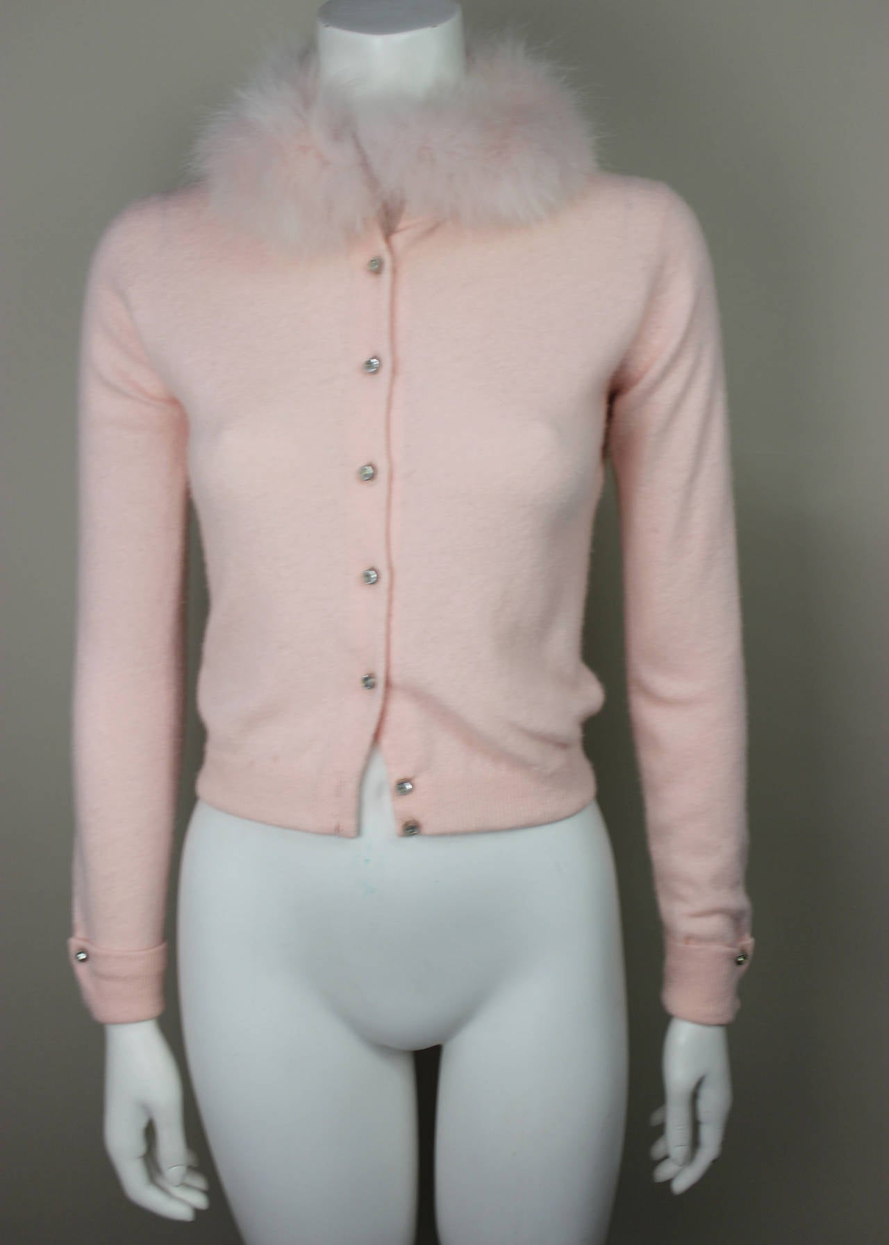 1950s Pink Cashmere Sweater With Matching Fox Collar At