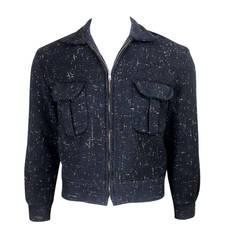 1950s Rockabilly Flecked Wool Zip Jacket