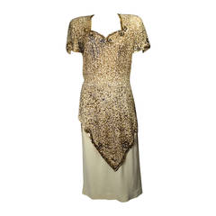 Exquisite 1940s Sequined Cocktail Dress