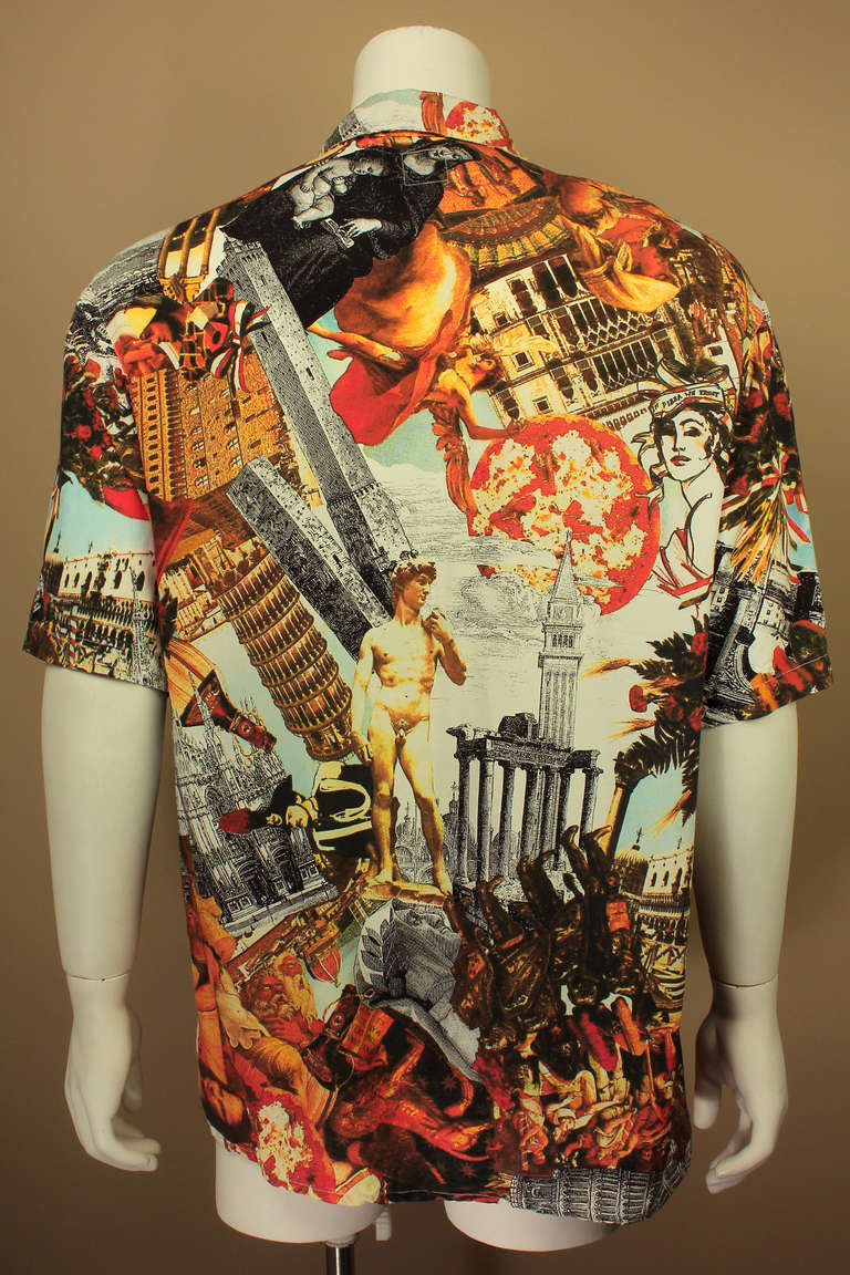 Brown Moschino Jeans 1990's Mens Photo Print Shirt For Sale