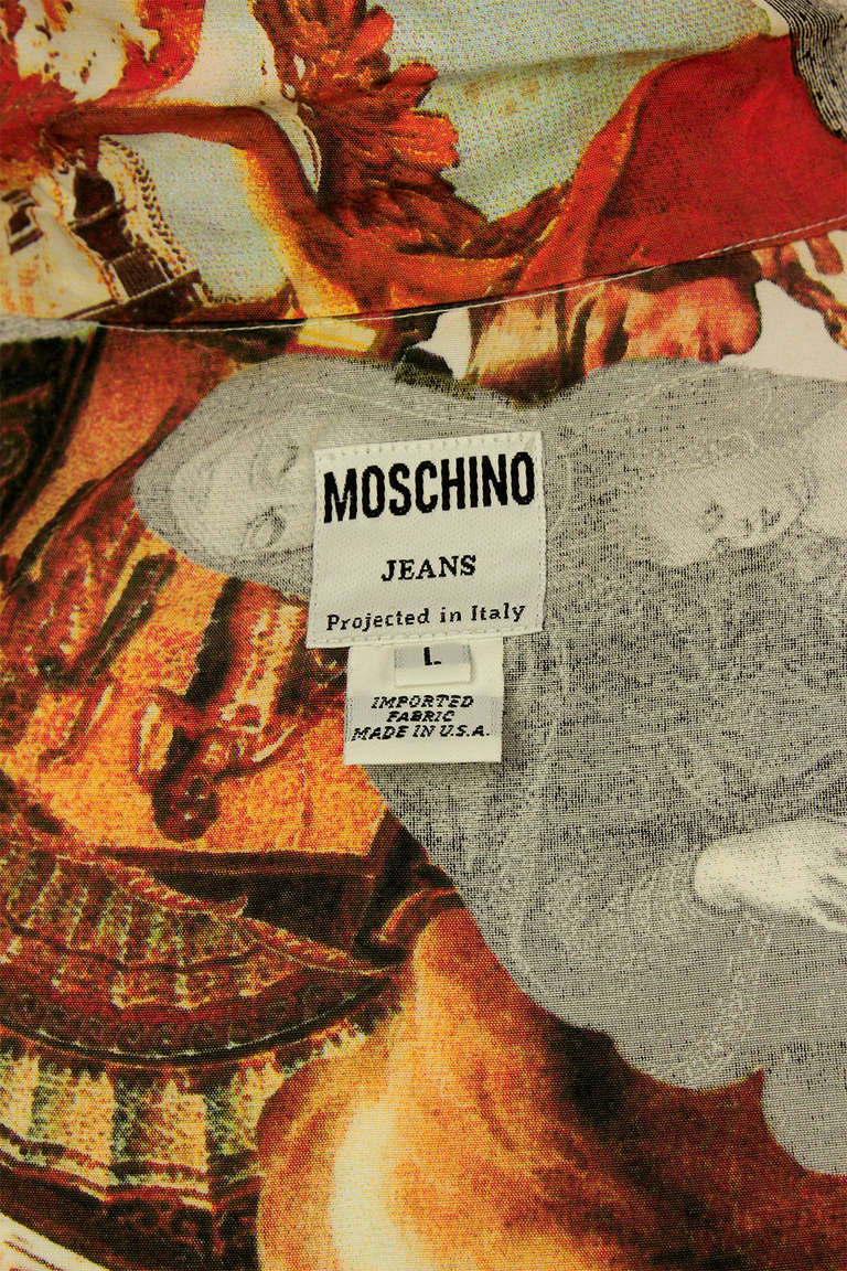 Moschino Jeans 1990's Mens Photo Print Shirt For Sale 4