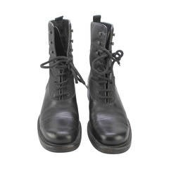 Women's Prada Nylon and Leather Lace-Up Boots