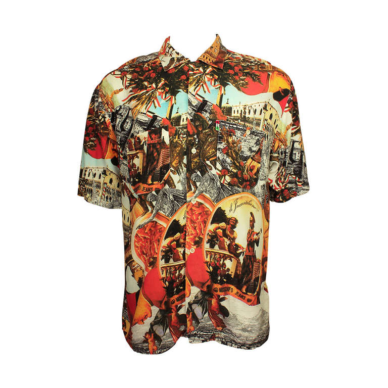Moschino Jeans 1990's Mens Photo Print Shirt For Sale