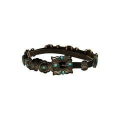 Vintage Navajo Silver/Turquoise Concha Belt