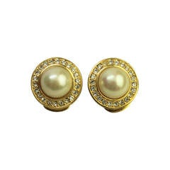 Christian Dior Faux Pearl and Rhinestone Earrings