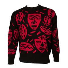 Claude Montana 1980s Mens Tribal Mask Print Sweater