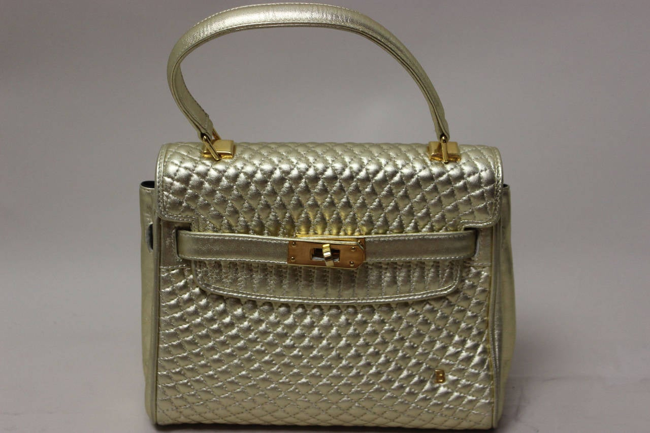 Rare Vintage Bally Gold Leather Quilted Quot Kelly Bag Quot At 1stdibs