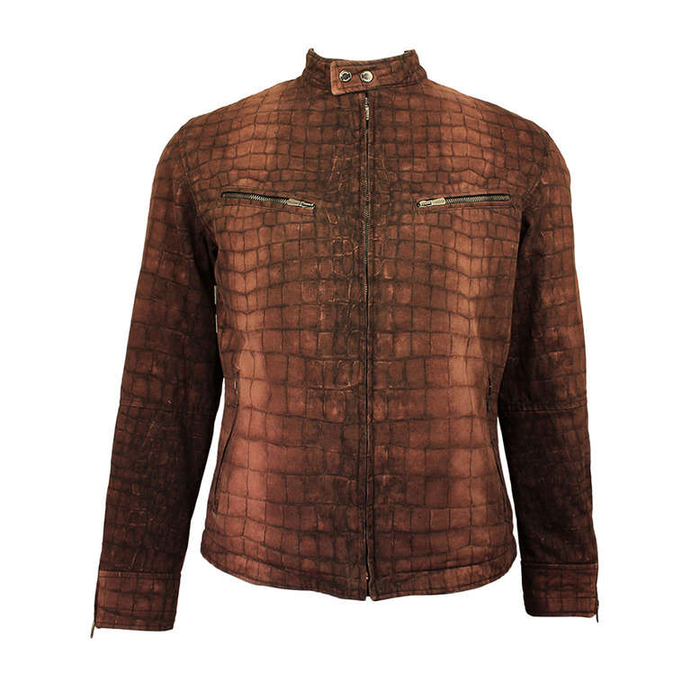 Moschino Mens Reptile Print Moto Style Jacket For Sale