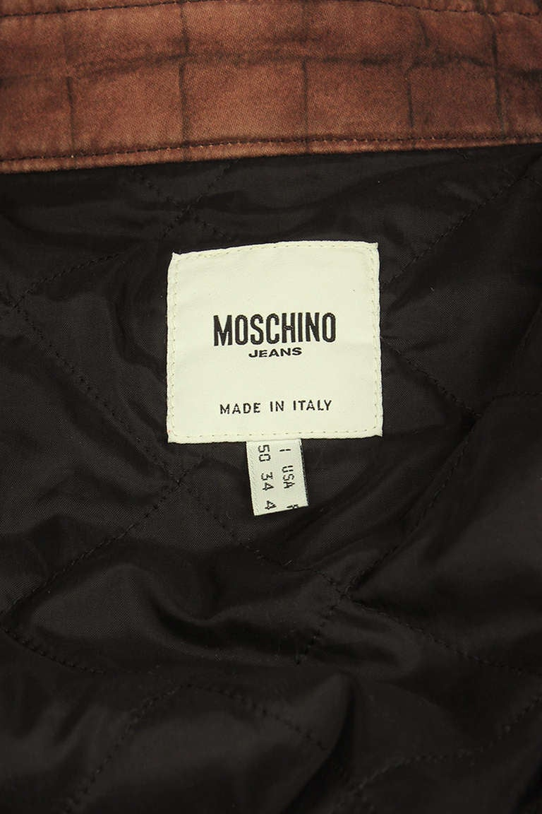 Moschino Mens Reptile Print Moto Style Jacket For Sale 3
