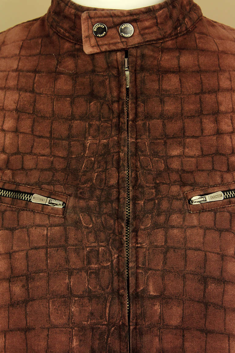 Moschino Mens Reptile Print Moto Style Jacket In Excellent Condition For Sale In New York, NY