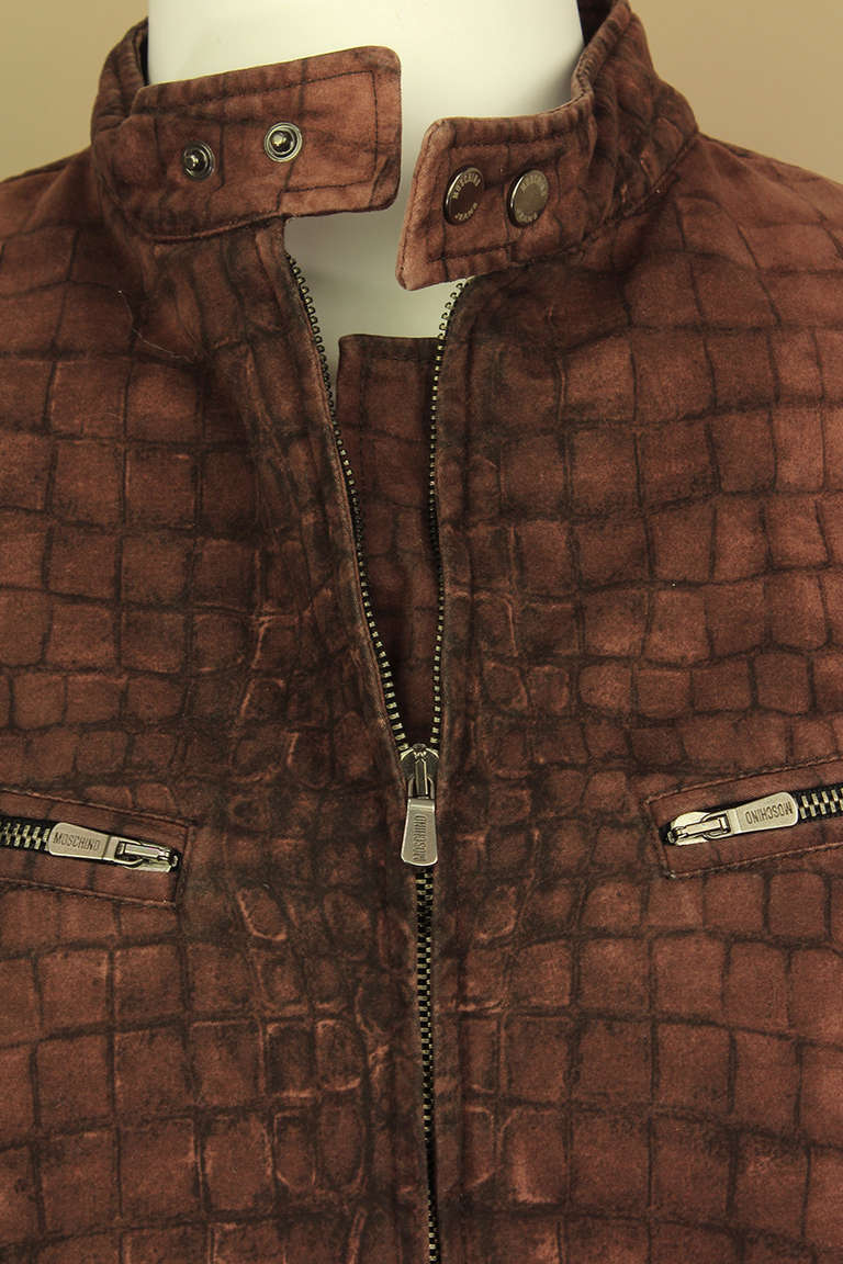 Men's Moschino Mens Reptile Print Moto Style Jacket For Sale