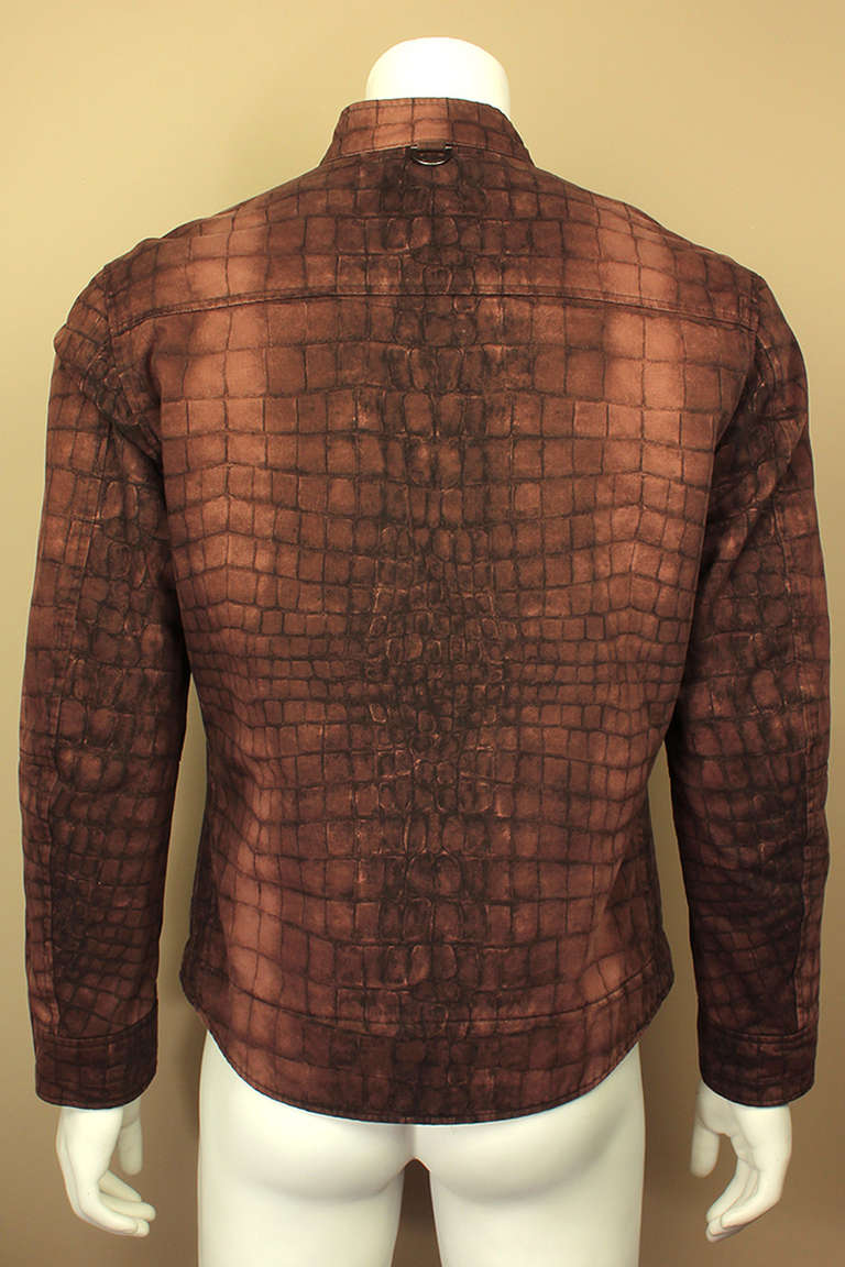 Brown Moschino Mens Reptile Print Moto Style Jacket For Sale