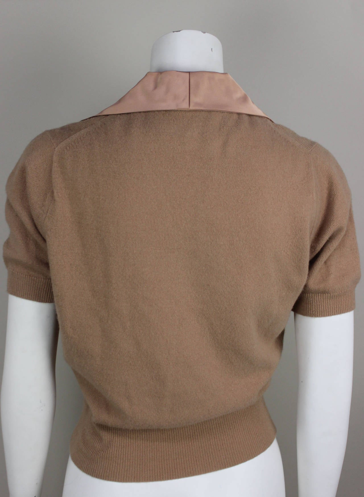 Brown 1950s Fine Cashmere and Satin Cadillac Sweater For Sale