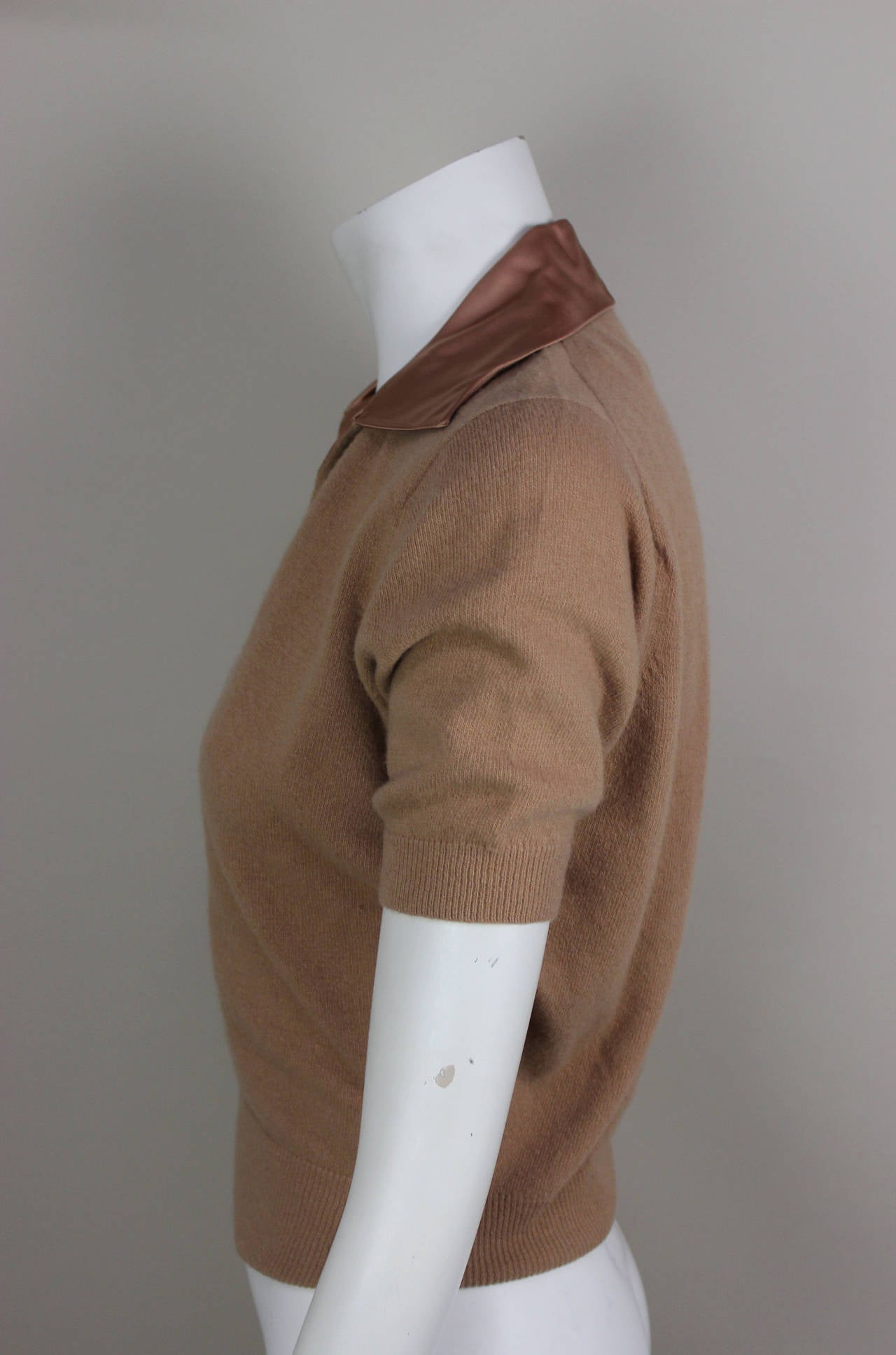 1950s Fine Cashmere and Satin Cadillac Sweater In Excellent Condition For Sale In New York, NY