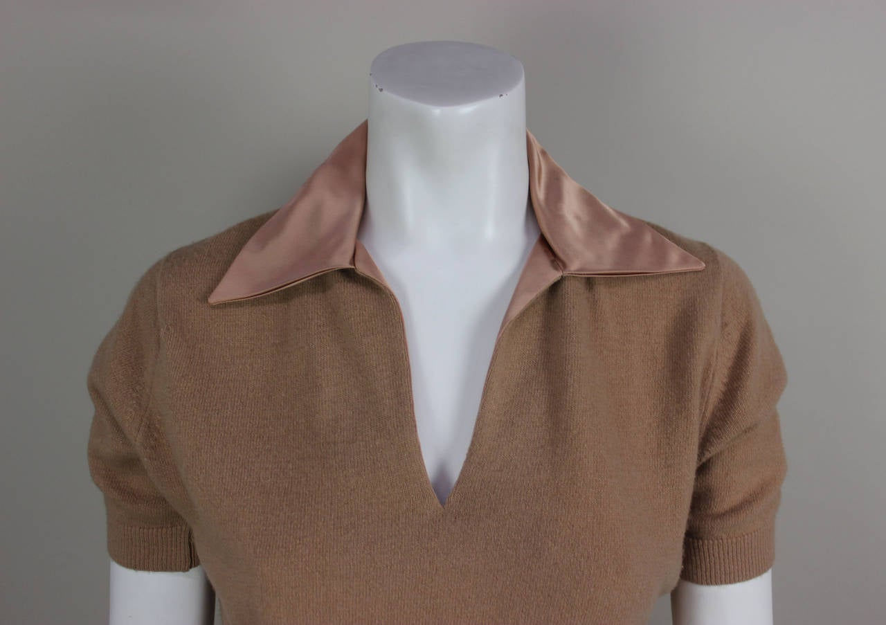 Women's 1950s Fine Cashmere and Satin Cadillac Sweater For Sale