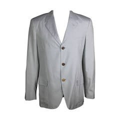 Jean Paul Gaultier Mens Ice Blue Silk Blazer