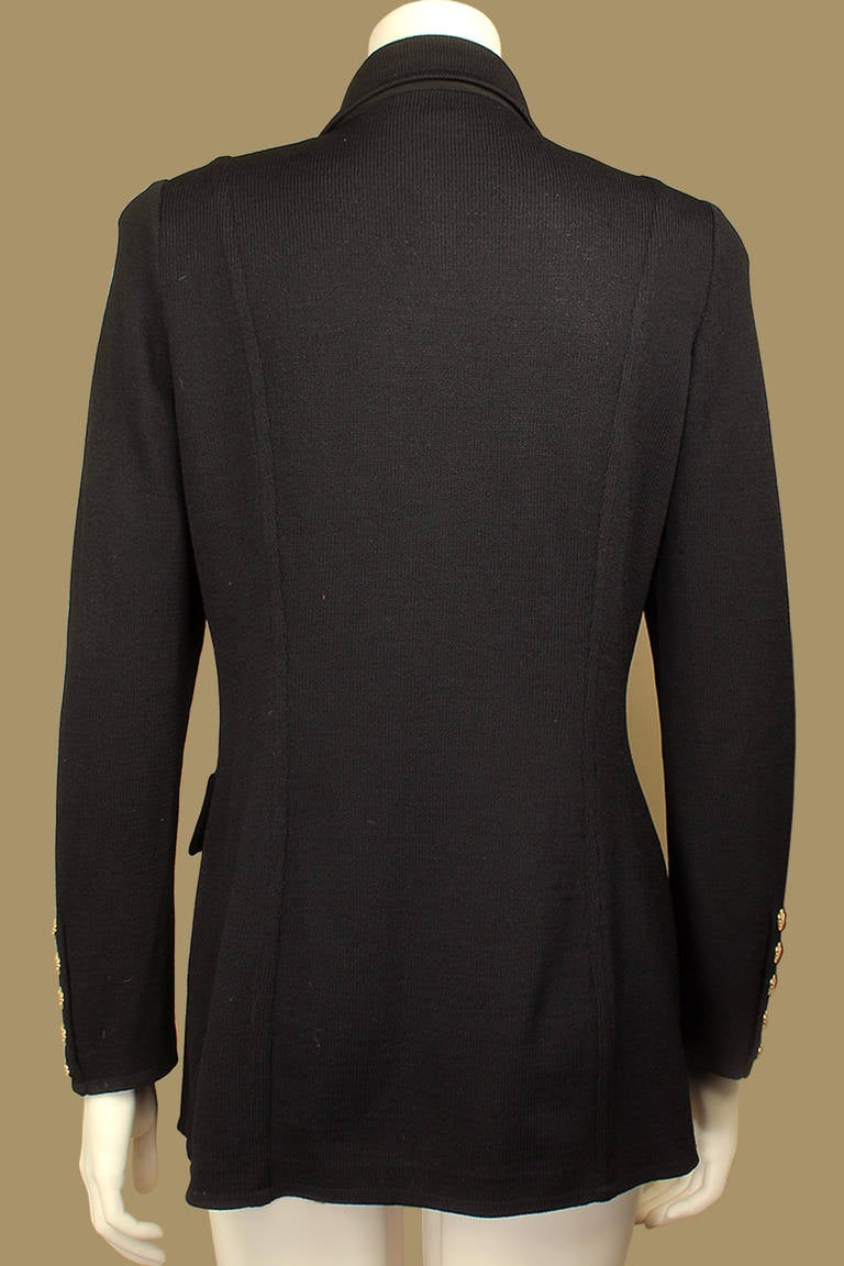 Black St. John Equestrian Style Knit Jacket For Sale