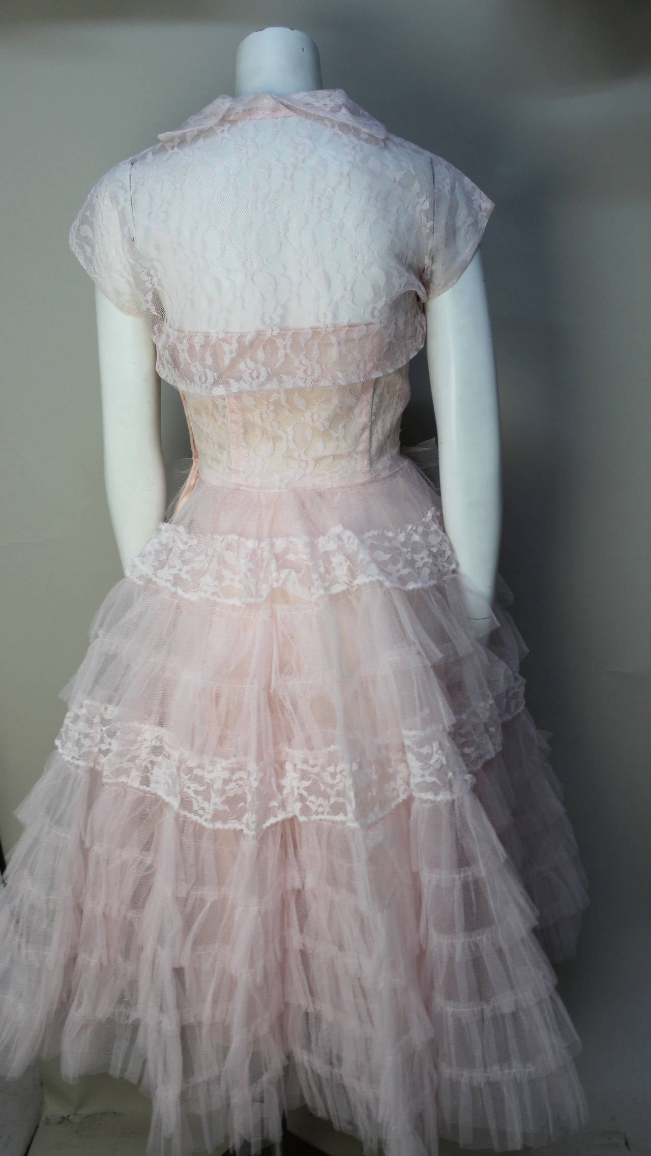 Stunning Never Worn 1950s Pink Tulle Evening Dress with Lace Bolero 6