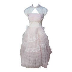 Stunning Never Worn 1950s Pink Tulle Evening Dress with Lace Bolero