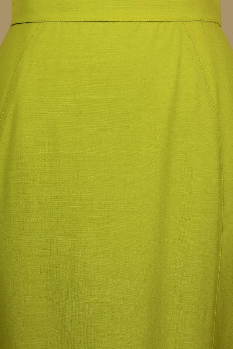Thierry Mugler Lime Green Pencil Skirt In Excellent Condition For Sale In New York, NY