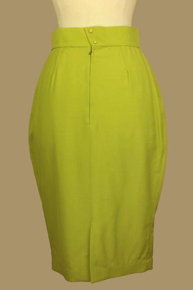 thierry mugler lime green pencil skirt for sale at 1stdibs