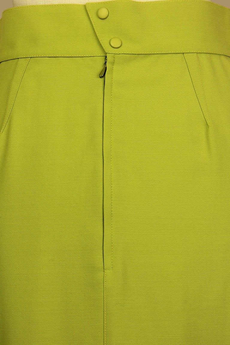 Women's Thierry Mugler Lime Green Pencil Skirt For Sale