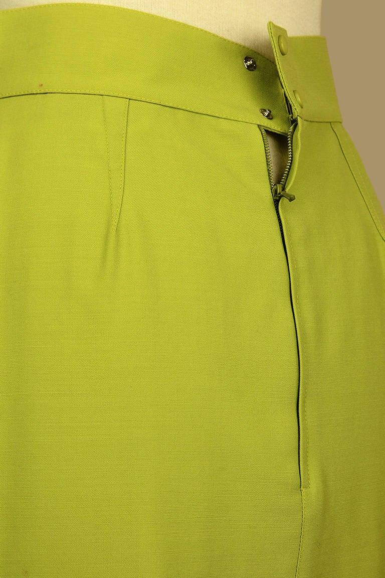 Thierry Mugler Lime Green Pencil Skirt For Sale 1